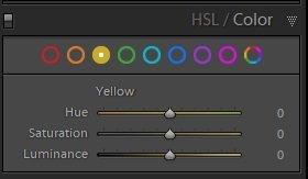 לשונית עריכת צבע סלקטיבי HSL בתוכנת לייטרום - Wild Travel