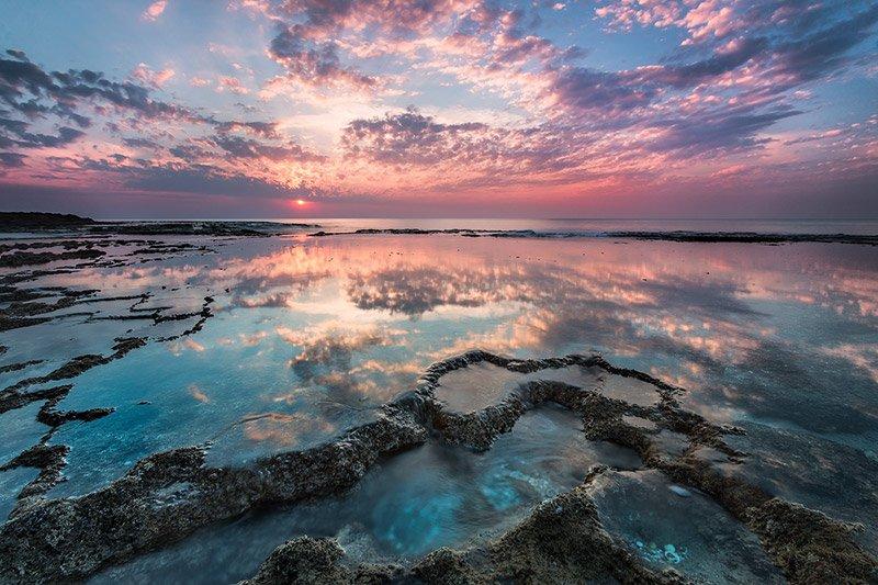 שקיעה בחוף דור הבונים, קורס צילום נוף - Wild Travel