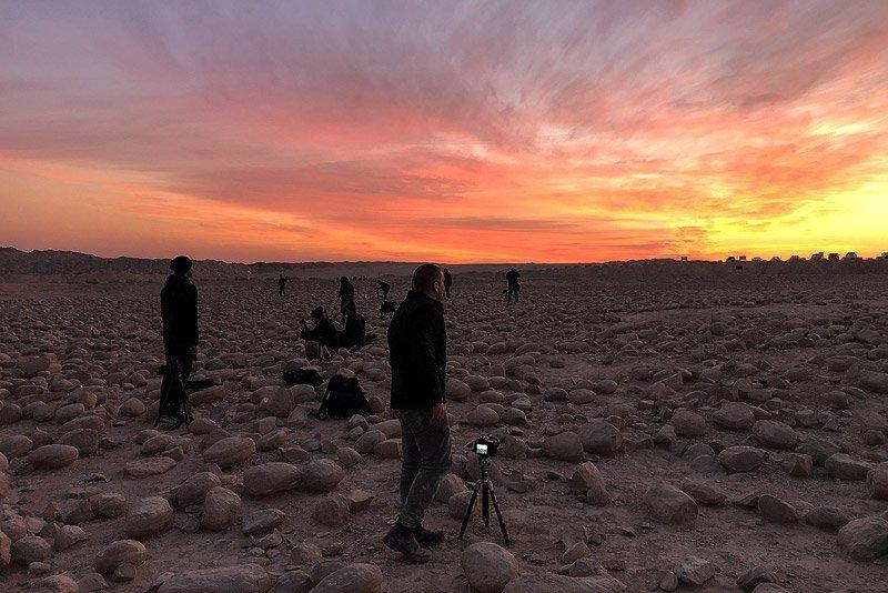 תמונה של משתתפי הקבוצה בסדנת צילום בהר צין ושדה הבולבוסים בזריחה - Wild Travel