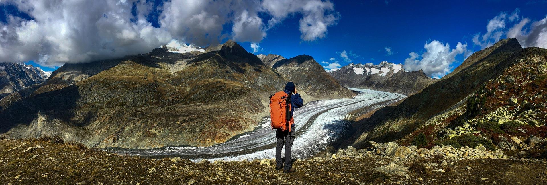 צילום נוף על רקע קרחון אלץ' בשוויץ - Wild Travel